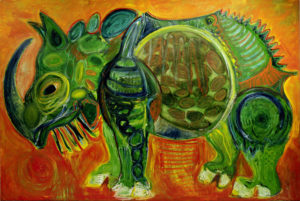 """Rhino, Hommage to Dürer"" 2016 Oil on canvas. 200 x 300 cm. 78.7 x 118.1 in."