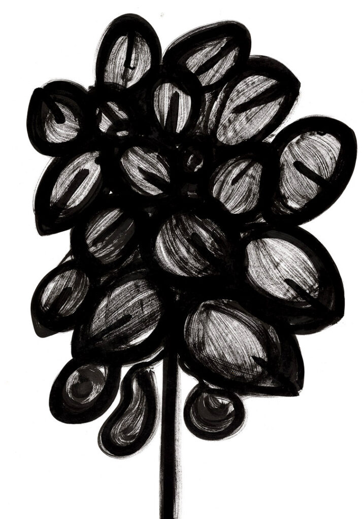 Karen Blixen's Flowers. Ink on paper. 100 x 70 cm. 39.4 x 27.6 in.